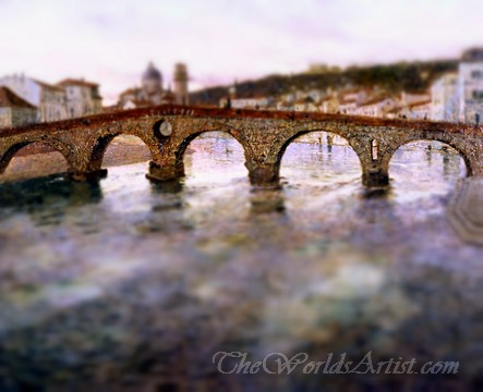 Tilt-Shift Frits Thaulow The Adige River at Verona