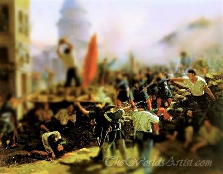 Tilt-Shift Horace Vernet Painting of Battle at Soufflot Barricades at Rue Soufflot