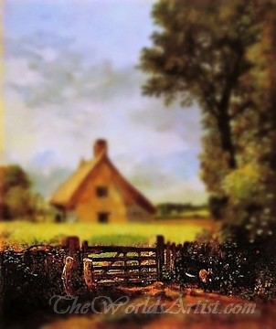 Tilt-Shift John Constable A Cottage in a Cornfield