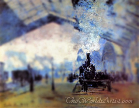 Tilt-Shift Oscar Claude Monet Arrival of the Normandy Train Gare Saint Lazare