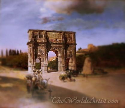 Tilt-Shift Oswald Achenbach Triumphal Arch in Rome